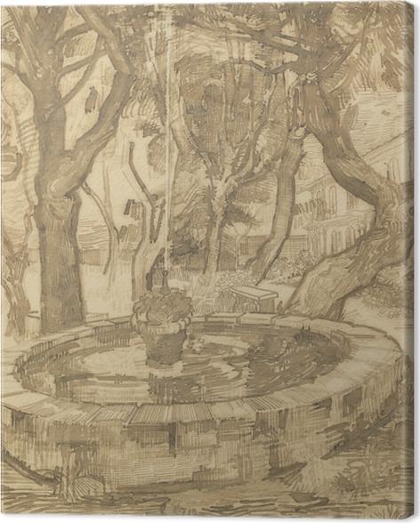 Canvas Vincent van Gogh - Fontein in de tuin van de inrichting - Reproductions