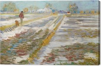 Canvas Vincent van Gogh - Landschap met sneeuw