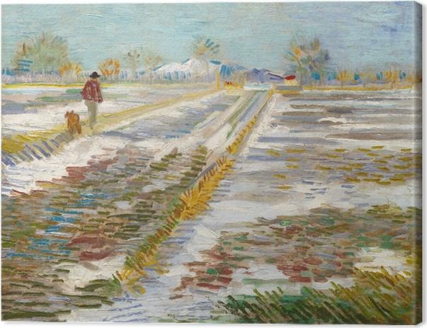 Canvas Vincent van Gogh - Landschap met sneeuw - Reproductions
