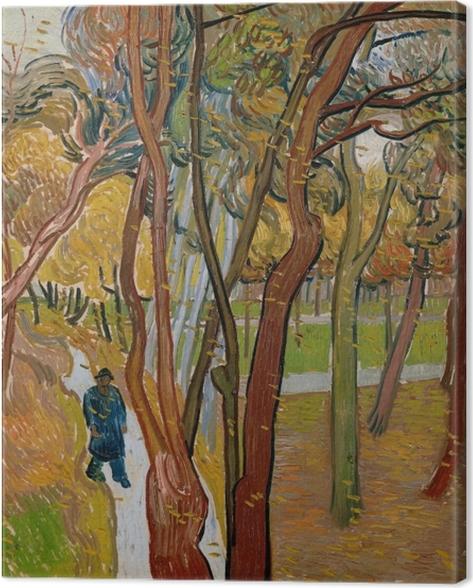Canvas Vincent van Gogh - Tuin van de inrichting Saint-Paul (Het vallen van de bladeren) - Reproductions