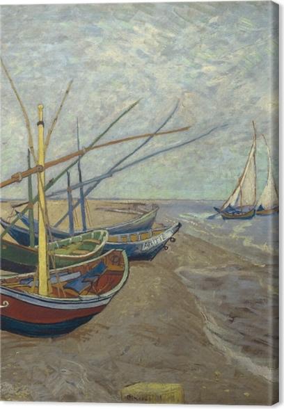 Canvas Vincent van Gogh - Vissersboten op het strand van Les Saintes-Maries-de-la-Mer - Reproductions