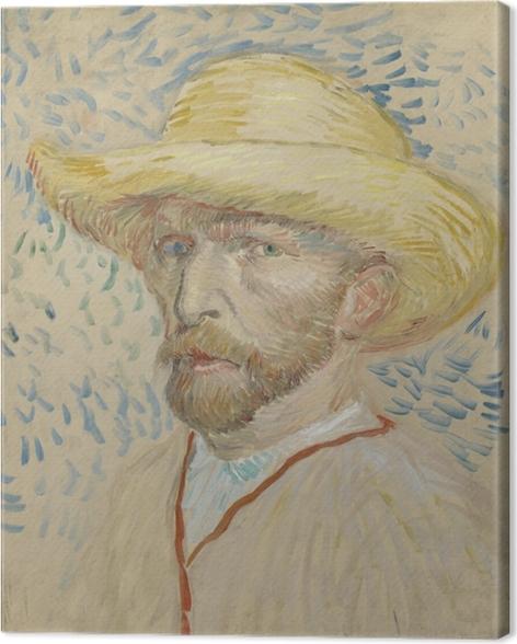 Canvas Vincent van Gogh - Zelfportret met strohoed en schilderskiel - Reproductions