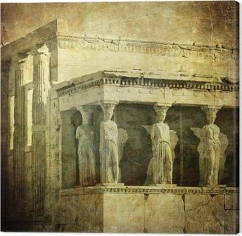 Canvas Vintage beeld van de kariatiden, de Akropolis, Athene, Griekenland