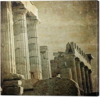 Canvas Vintage beeld van Griekse zuilen, de Akropolis, Athene, Griekenland