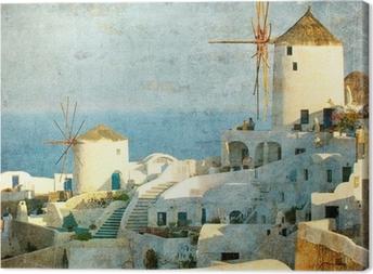 Canvas Vintage beeld van Oia dorp op het eiland Santorini, Griekenland