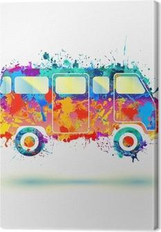 Canvas Vintage Hippie Camper bus. Vector