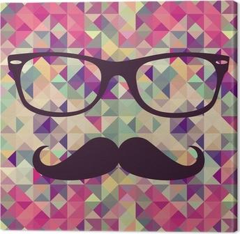 Canvas Vintage hipster gezicht geometrisch patroon.