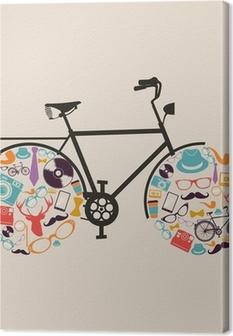 Canvas Vintage hipsters pictogrammen fiets.