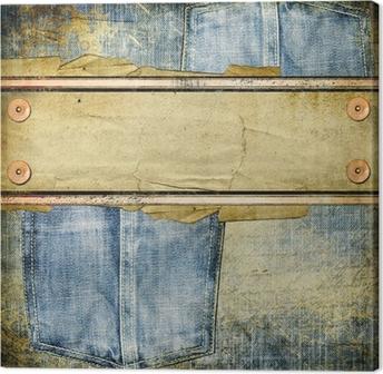 Canvas Vintage jeans achtergrond met plaats voor tekst