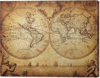 Canvas Vintage kaart van de wereld 1733