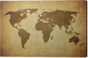 Canvas Vintage kaart van de wereld