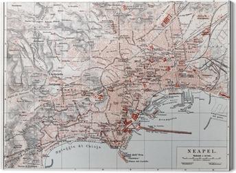 Canvas Vintage kaart van Napels (Napoli) aan het einde van de 19e eeuw