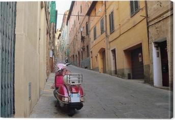 Canvas Vintage scène met Vespa op oude straat, Siena, Italië