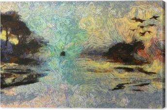 Canvas Vivid Wervelende Schilderen of Islands zonsondergang of zonsopkomst
