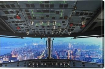 Canvas Vliegtuig cockpit en de stad van de nacht