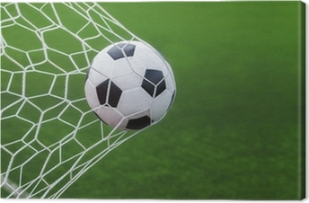 Canvas Voetbal bal in doel met groene backgroung