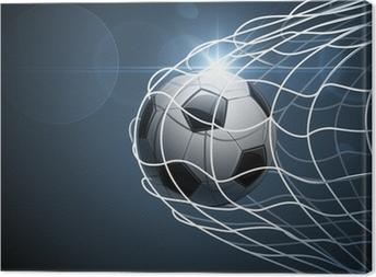 Canvas Voetbal bal in doel. Vector