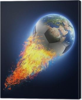 Canvas Voetbal bal transformeren in aarde op zwarte achtergrond