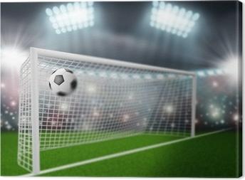 Canvas Voetbal bal vliegt in het doel