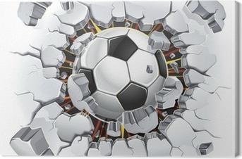 Canvas Voetbal die door de muur komt