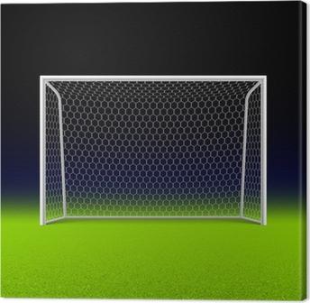 Canvas Voetbal doel op zwart