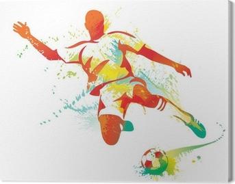 Canvas Voetballer trapt de bal. Vector illustratie.
