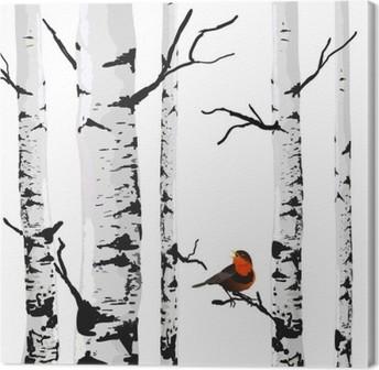 Canvas Vogel van berken, vector tekening met bewerkbare elementen.