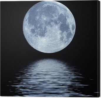 Canvas Volle maan over water