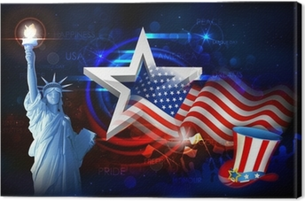 Canvas Vrijheidsbeeld met Amerikaanse Vlag