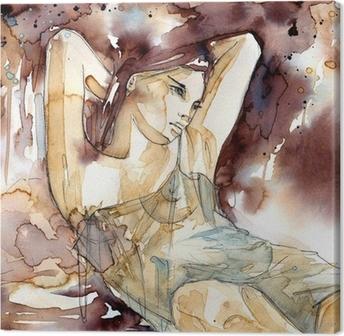 Canvas Vrouw met de handen achter zijn hoofd