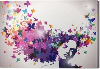Canvas Vrouw met een vlinders in haar.