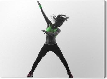 Canvas Vrouw uitoefening fitness zumba dansen silhouet