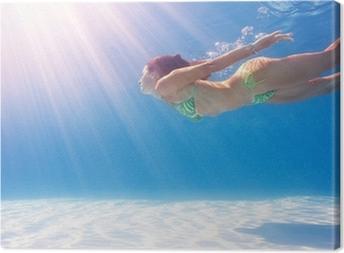 Canvas Vrouw zwemmen onder water in een blauwe zwembad.