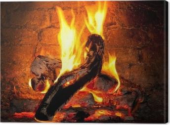 Canvas Vuur brandend in de open haard