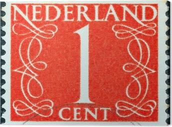 Canvas Waarde van 1 cent postzegel (Nederland 1946)