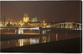 Canvas Warta, brug en kathedraal in de nacht in Poznan, Polen.