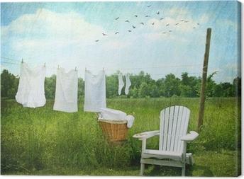 Canvas Wasgoed drogen op waslijn