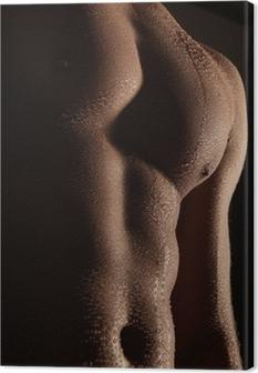 Canvas Wassertropfen auf Männerkörper