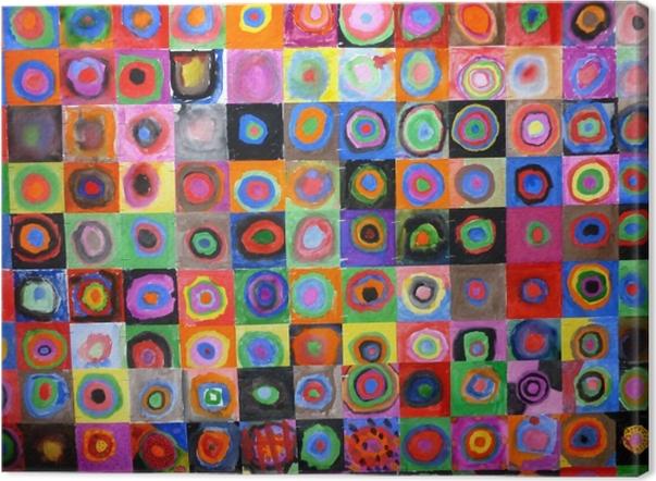Canvas Wassily Kandinsky - Kleurenstudie, vierkanten met concentrische cirkels - Reproducties