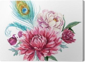 Canvas Watercolor bloemen compositie
