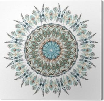 Canvas Watercolor etnische veren abstract mandala.
