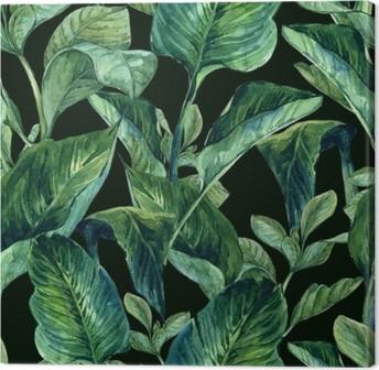Canvas Watercolor Naadloze Achtergrond met Tropische Bladeren