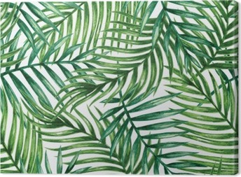 Canvas Watercolor tropical palm leaves seamless pattern. Vector illustration.