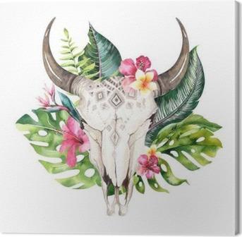 Tableau Sur Toile Aquarelle Crâne De Vache Bohème Et Feuilles De