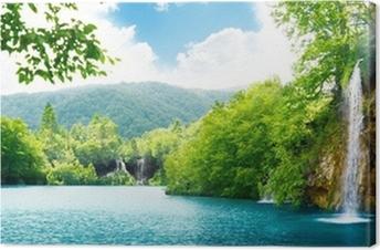 Canvas Waterval in diepe woud