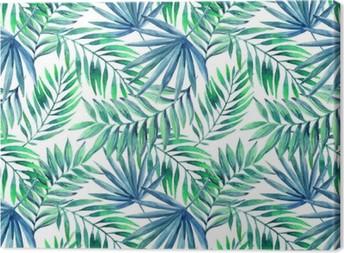 Canvas Waterverf het tropische verlaat naadloos patroon