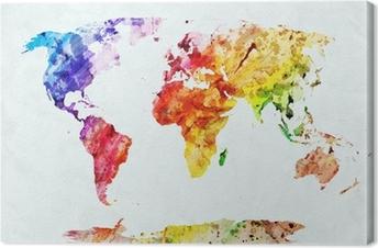 Canvas Waterverf wereldkaart
