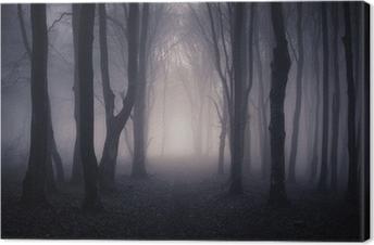 Canvas Weg door een donker bos bij nacht