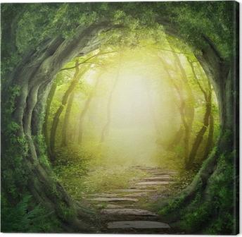 Canvas Weg in donker bos