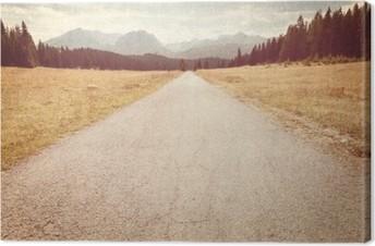 Canvas Weg richting de bergen - Vintage beeld